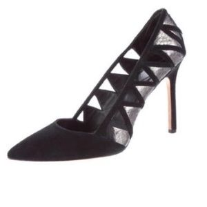 Brian Atwood Black Suede and Metallic Cutout Heel!